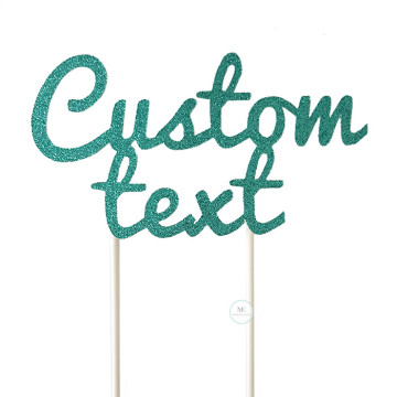 Customized Cake Topper- Glitter Teal image