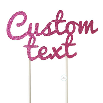 Customized Cake Topper- Glitter Fuchsia Pink image