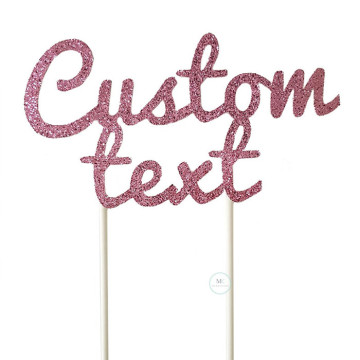 Customized Cake Topper- Glitter Rose Pink image