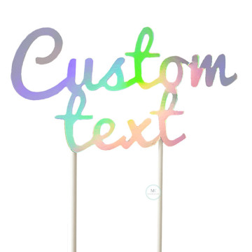 Customized Cake Topper- Holographic Iridescent image