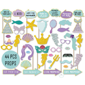 Mermaid Party 44PCS Set Photobooth Prop image
