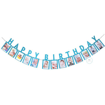 Happy Birthday Photo Frame Banner Blue image