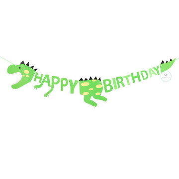 Happy Birthday Dinosaur Green Banner image