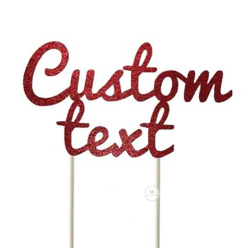 Customized Cake Topper- Glitter Red image