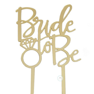 Bride to Be Acrylic Gold cake topper image