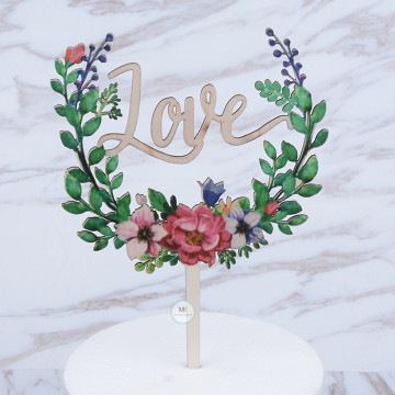 Rustic Love Acrylic cake topper image