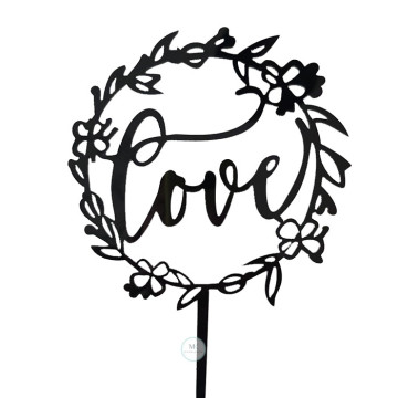 Love Black Acrylic cake topper image