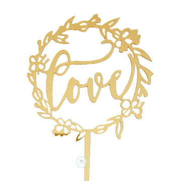 Love Gold Acrylic cake topper image