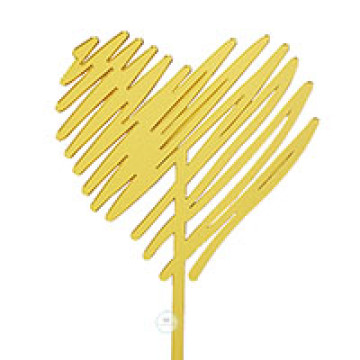 Scribble Heart Gold Acrylic Cake topper image