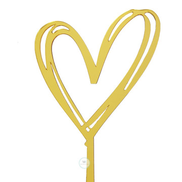 Outline Heart Gold Acrylic Cake topper image