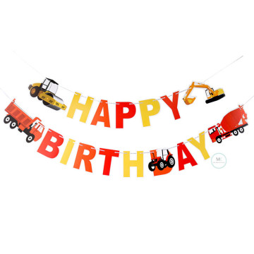 Happy Birthday Construction trucks Banner image