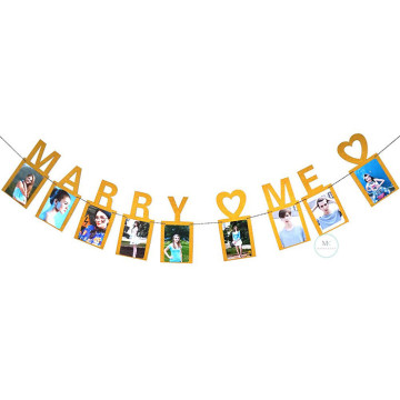 Marry Me Photo Frame Banner Gold image