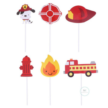 Firefighter cupcake topper set image
