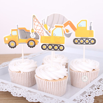 Construction Trucks cupcake topper set image