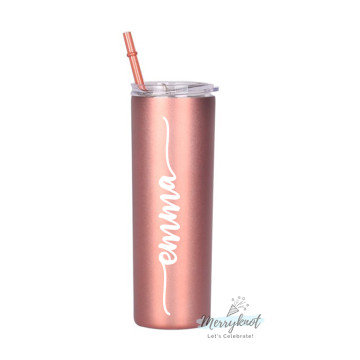 Skinny Double wall Stainless Steel Tumbler [Rose Gold] image