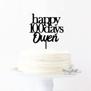 Customise Happy 100 days Name Cake topper image