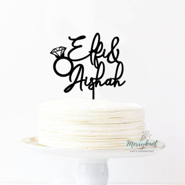 Customise Name + ring Cake topper image