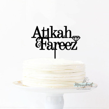 Customise Name + Diamond Cake topper image
