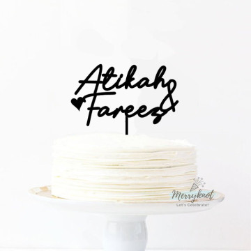 Customise Name + love Cake topper image