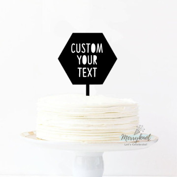 Customise Your Text - Hexagon Acrylic Cake topper image