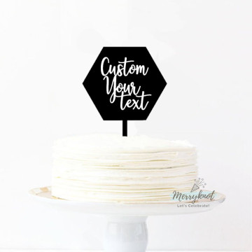 Customise Your Text - Hexagon Acrylic + Vinyl Letters Cake topper image