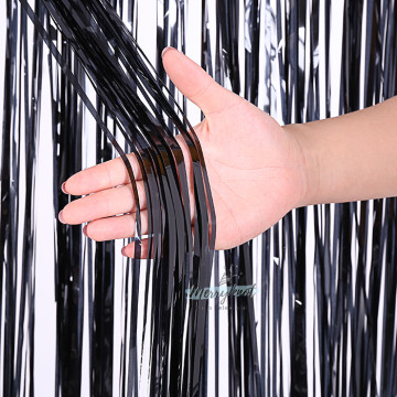 Metallic BLACK Tinsel Fringe Curtain Backdrops 200cm x 100cm image