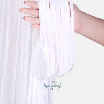 Metallic WHITE Tinsel Fringe Curtain Backdrops 200cm x 100cm image
