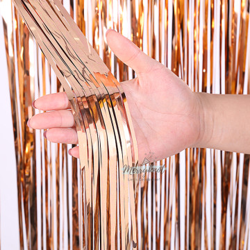 Metallic ROSE GOLD Tinsel Fringe Curtain Backdrops 200cm x 100cm image