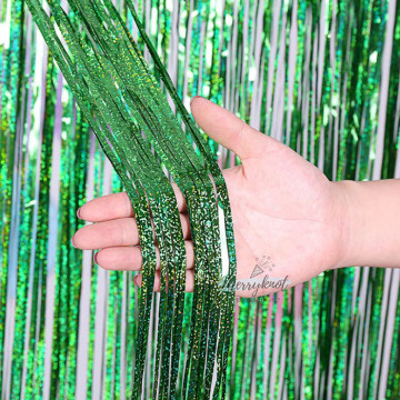 Shimmer GREEN Tinsel Fringe Curtain Backdrops 200cm x 100cm image