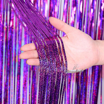 Shimmer PURPLE Tinsel Fringe Curtain Backdrops 200cm x 100cm image