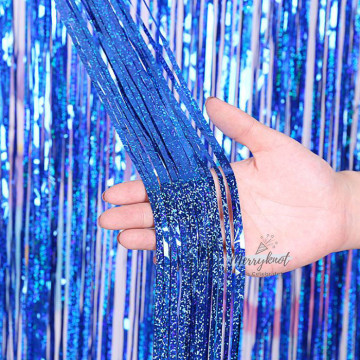 Shimmer BLUE Tinsel Fringe Curtain Backdrops 200cm x 100cm image