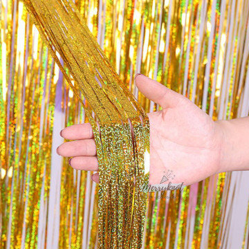 Shimmer GOLD Tinsel Fringe Curtain Backdrops 200cm x 100cm image