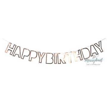 Happy Birthday Banner Hollow Rose Gold image