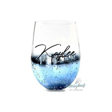 Sparkly Egg Glass Cup [BLUE] image