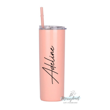 Skinny Double wall Stainless Steel Tumbler [Coral Pink] image