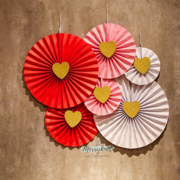 Paper Fan Rosettes set [Hearts] image
