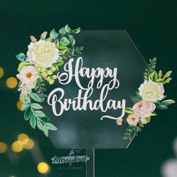 Acrylic Clear Floral Hex Birthday image