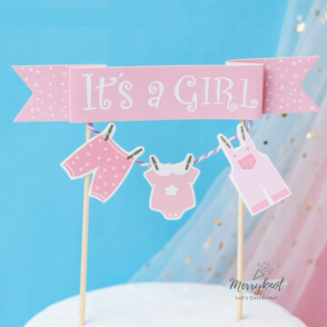 It's a Girl cake topper image