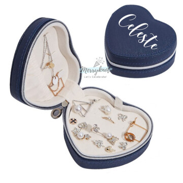 Customised PU Leather Heart Jewellery Box  [Blue] image