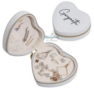 Customised PU Leather Heart Jewellery Box  [White] image