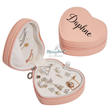 Customised PU Leather Heart Jewellery Box  [Peach] image