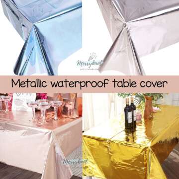 Disposable waterproof table cover [Metallic] image