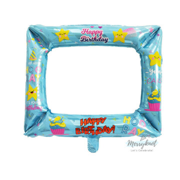 Happy Birthday Balloon Photo Frame [Blue] image