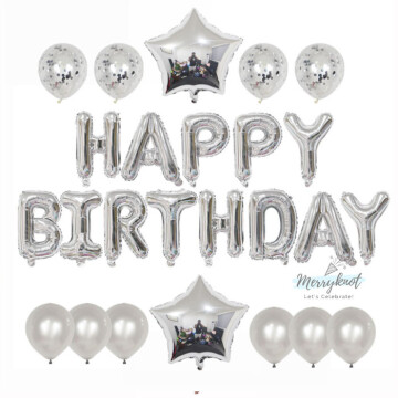 Happy Birthday Balloon set [SILVER] image
