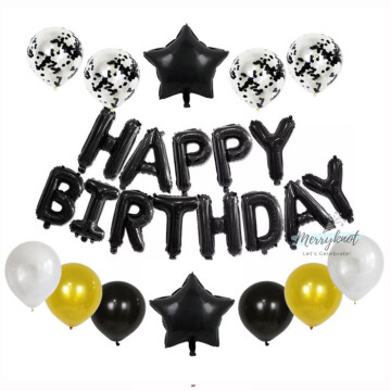 Happy Birthday Balloon set [Black] image