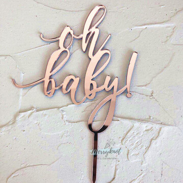 Oh Baby Acrylic Rose Gold Cake topper image