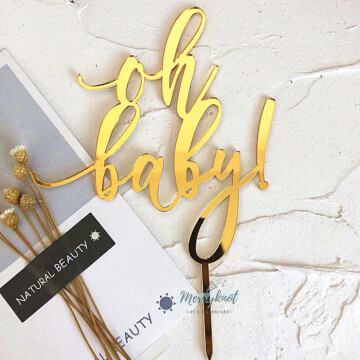 Oh Baby Acrylic Gold Cake topper image
