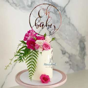 Oh Baby frame Acrylic Rose Gold Cake topper image
