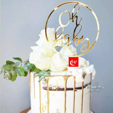 Oh Baby frame Acrylic Gold Cake topper image