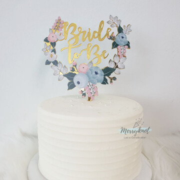 Bride to be Floral cake topper image